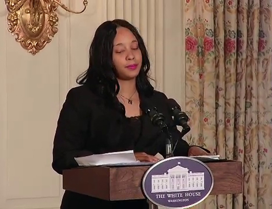 Tiesha Hines, Poet and Artist Organizer, at the White House